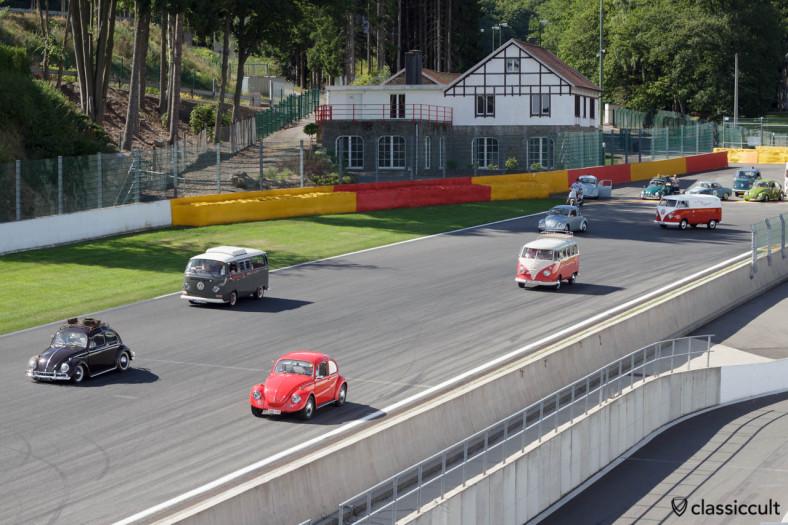 VW Beetles and Buses driving around Circuit Spa 2013.