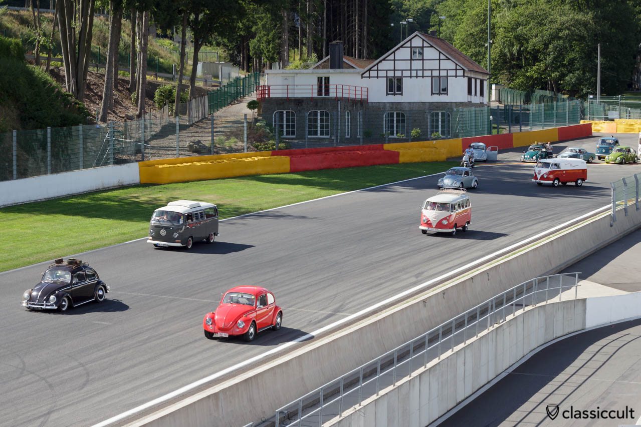 VW Beetles and Buses driving around Circuit Spa 2013.