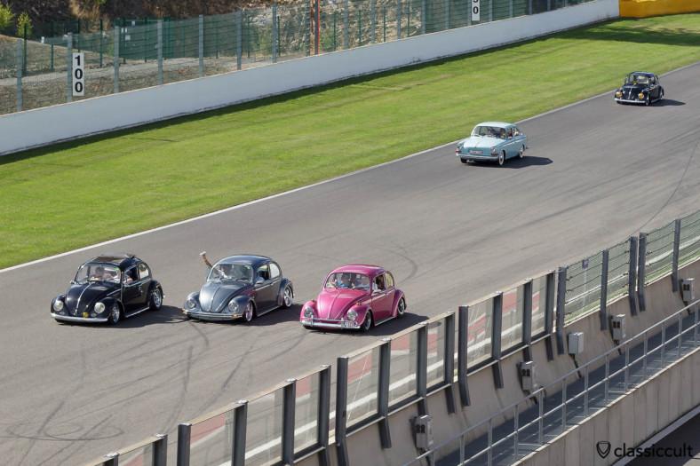 Slammed VW Beetles driving on Circuit Spa.