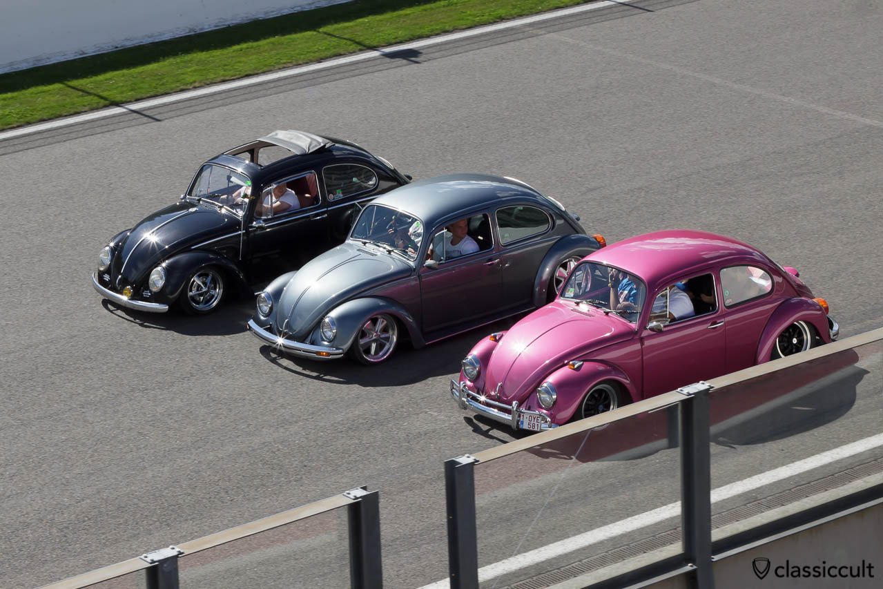Slammed VW Beetles driving on Circuit Spa 2013.