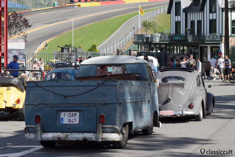 VW Single Cab and Oval Ragtop on the way to Circuit de Spa.