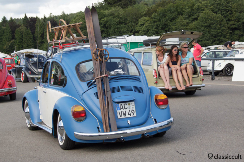 VW Beetle with sled and ski