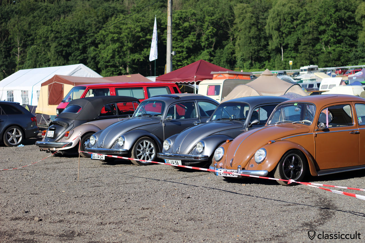 three VW Bugs from Germany, one Cabrio from Switzerland
