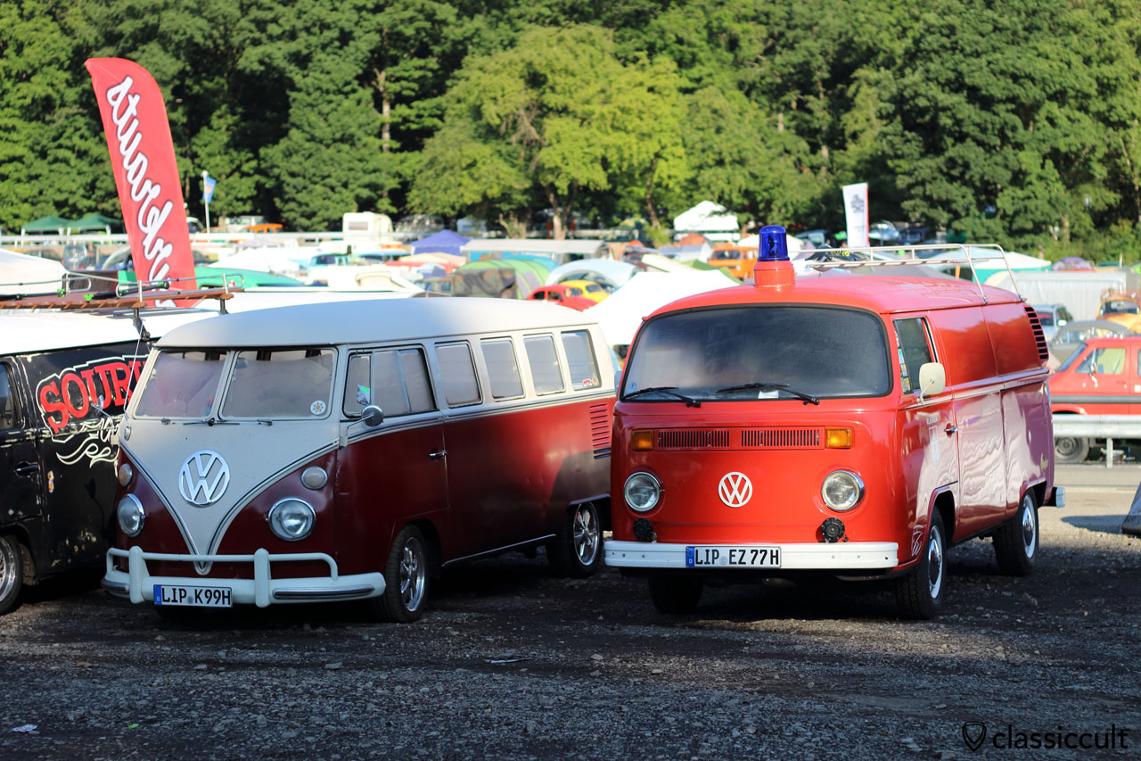 VW T1 Kombi and 1977 Bay Window Fire Bus, sleeping at 8:29 a.m.