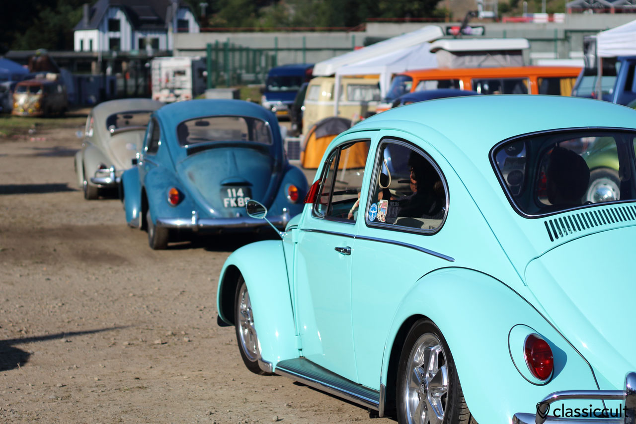 VW Beetles on the way to show and shine, 8:49 a.m.
