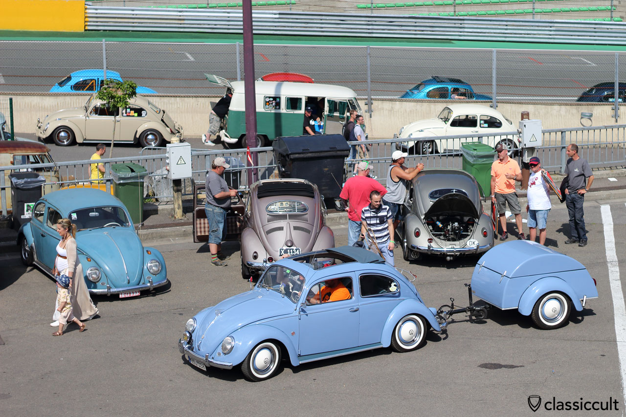 blue VW Ragtop Bug with matching trailer from Germany
