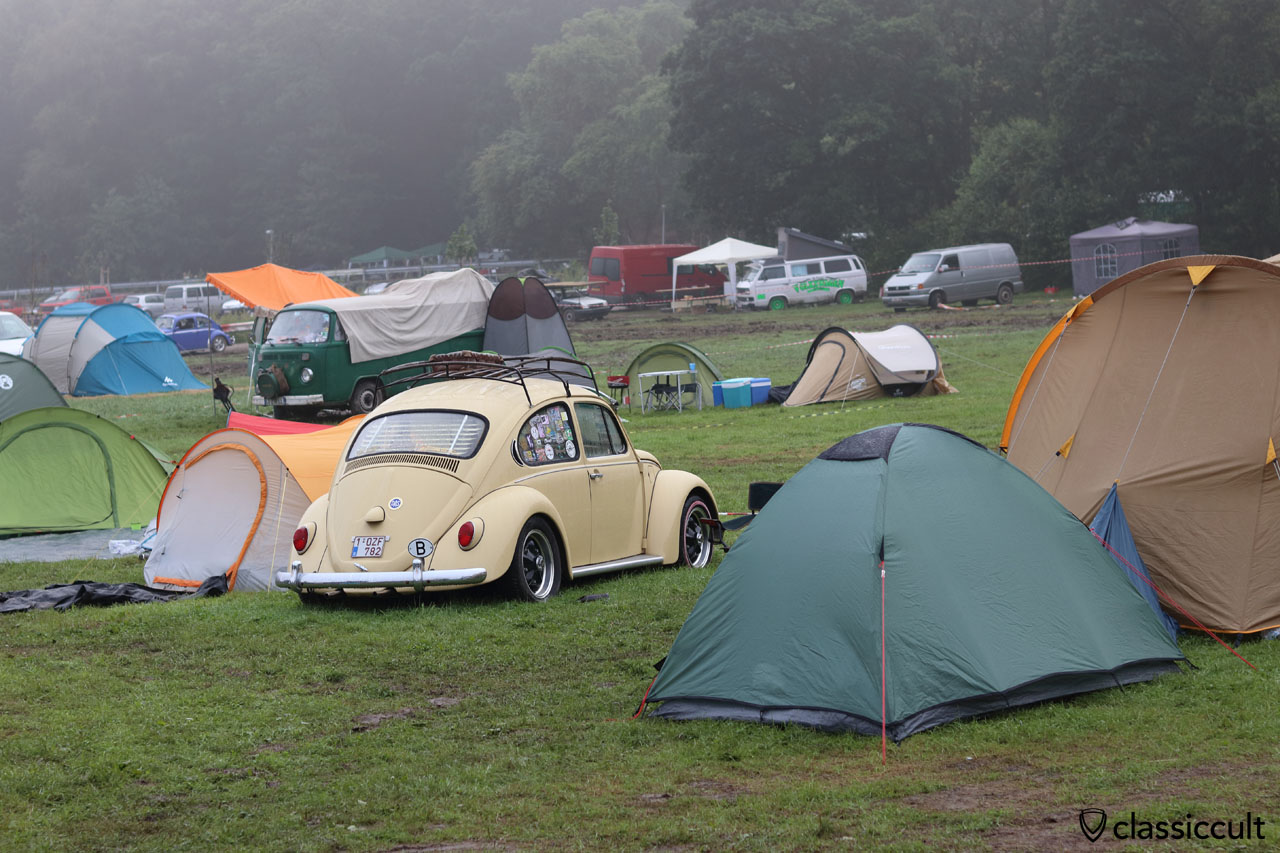 VW Beetle at P2 Camping, sleeping at 8:00 a.m.