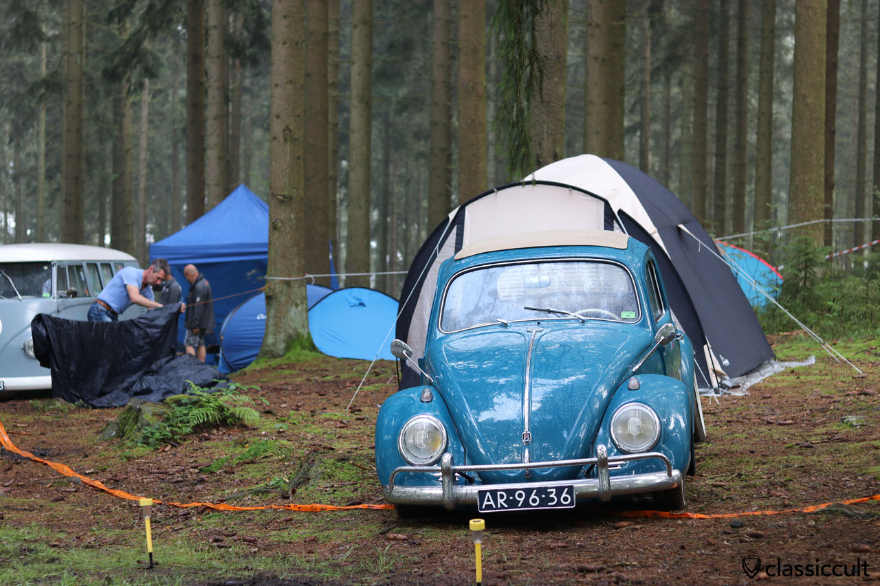 blue Ragtop camping in P3 forest, Spa Bug Show