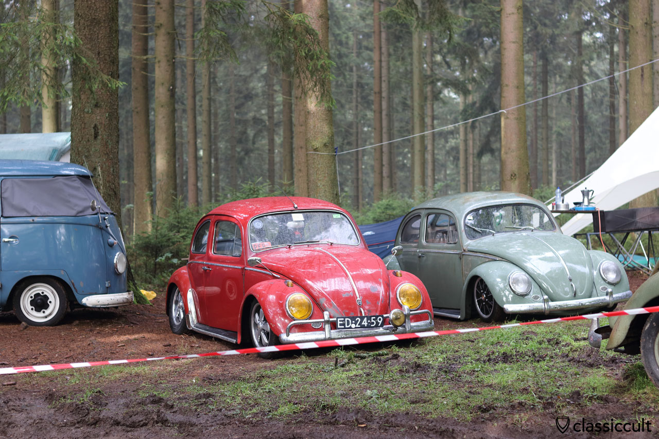 low 1959 VW Beetle with yellow headlights and fuchs wheels