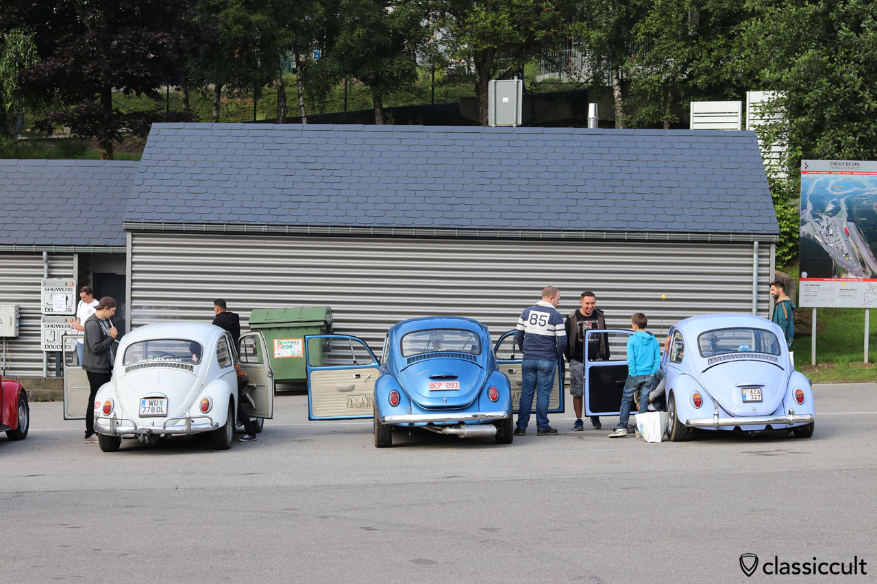 three VW Beetles parking at Douche Shower