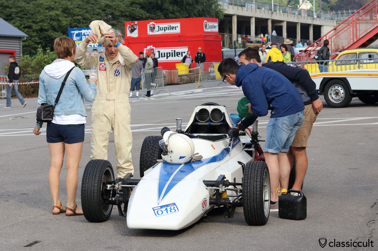 SPA water for the driver and fuel fill up for the Formula Vee VW
