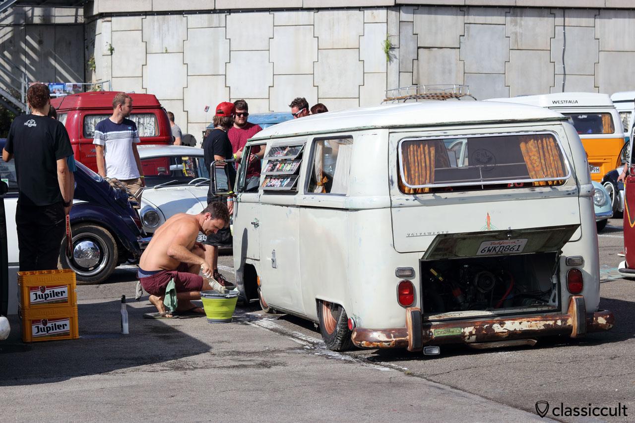 VW Tin Top Camper mud clean up, 10:35 a.m.