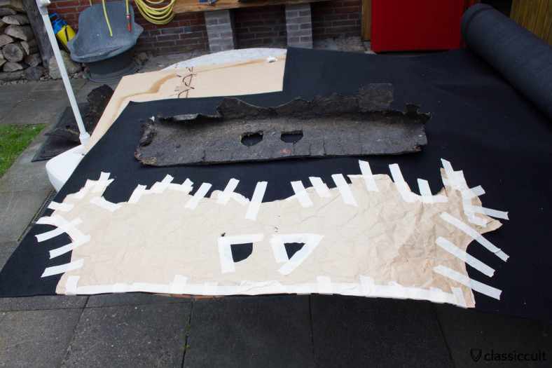Car carpet for inside, e.g. behind the rear seat floor pan. The carpet is not visible and can be removed easy. It is the first layer on the metal to protect the color and to keep a bit the noise off.