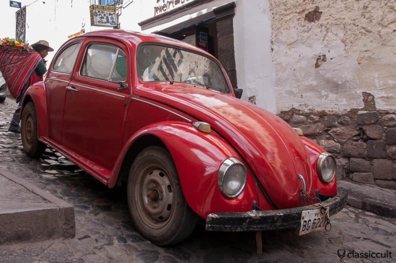 VW Beetle near San Blas Plaza Cusco, Peru, May 11, 2013. The beetle has a special Peru style trunk padlock  :-)