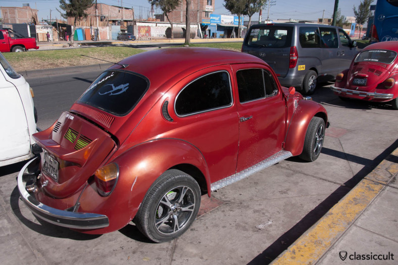 Classic VW Beetle with spoiler in Arequipa, Peru, May 9, 2013