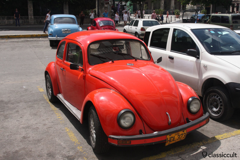 old VW Beetle parking at the custom house Aduana, Old Havana, Cuba, March 28, 2014
