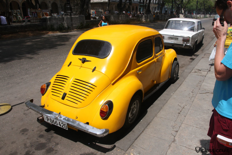 WOW, a ugly Volkswagen Bug parking at Paseo del Prado, Havana Cuba March 29, 2014. But with nice taillights...