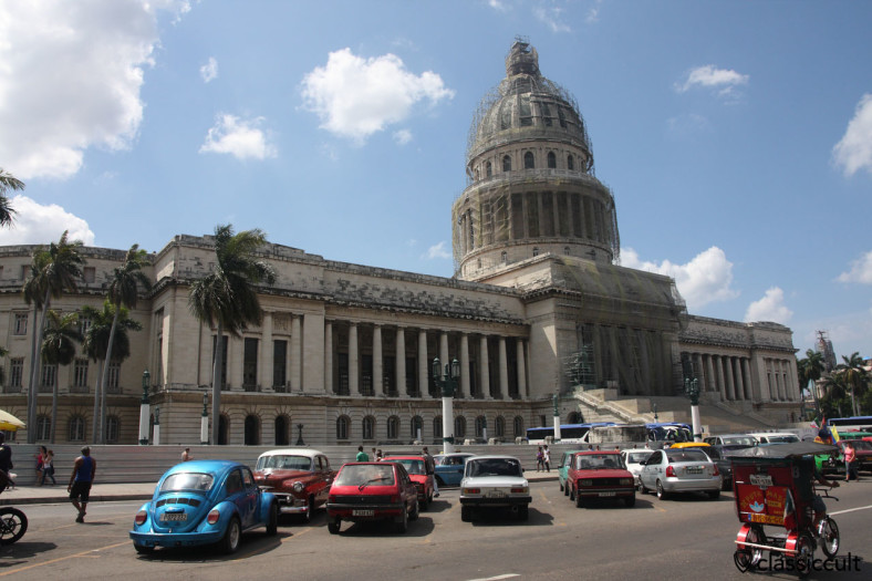 blue VW Beetle at El Capitolio Havana, Cuba, March 29, 2014