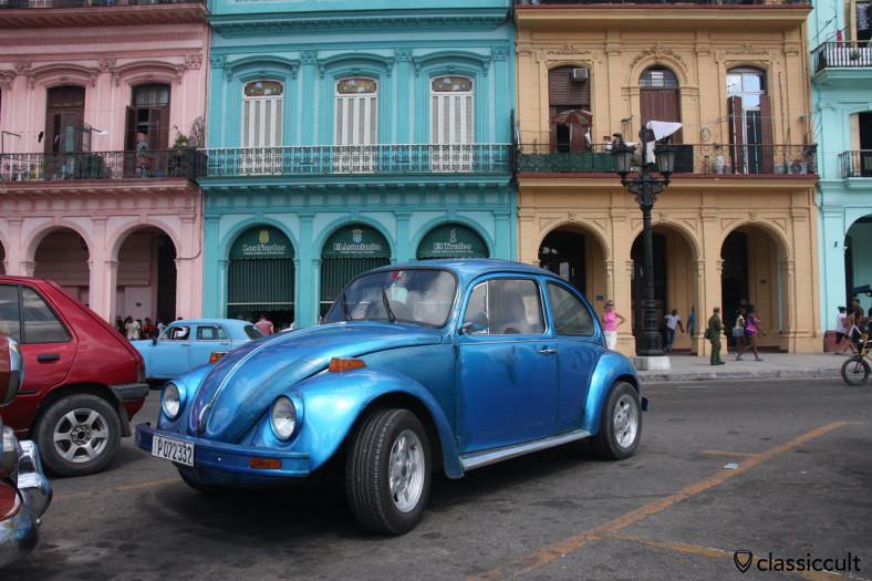 old VW Beetle at El Capitolio Havana, Cuba, March 29, 2014