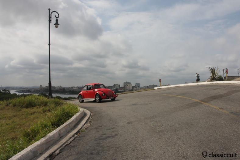 VW Beetle on the way to the top of Castillo de los Tres Reyes del Morro Havana, Cuba, March 30, 2014.
