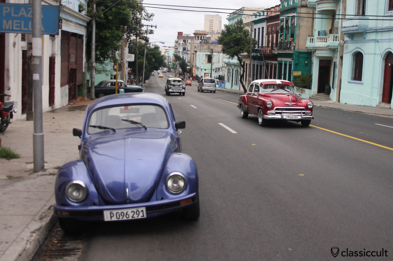 VW Bug and American classic cars near the University of Havana, Cuba, March 30, 2014.