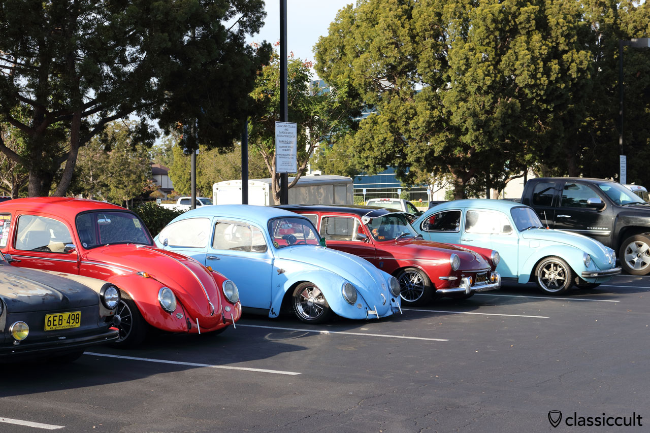 Classic VWs parking at the car park because the Historic Main Street in Garden Grove is full