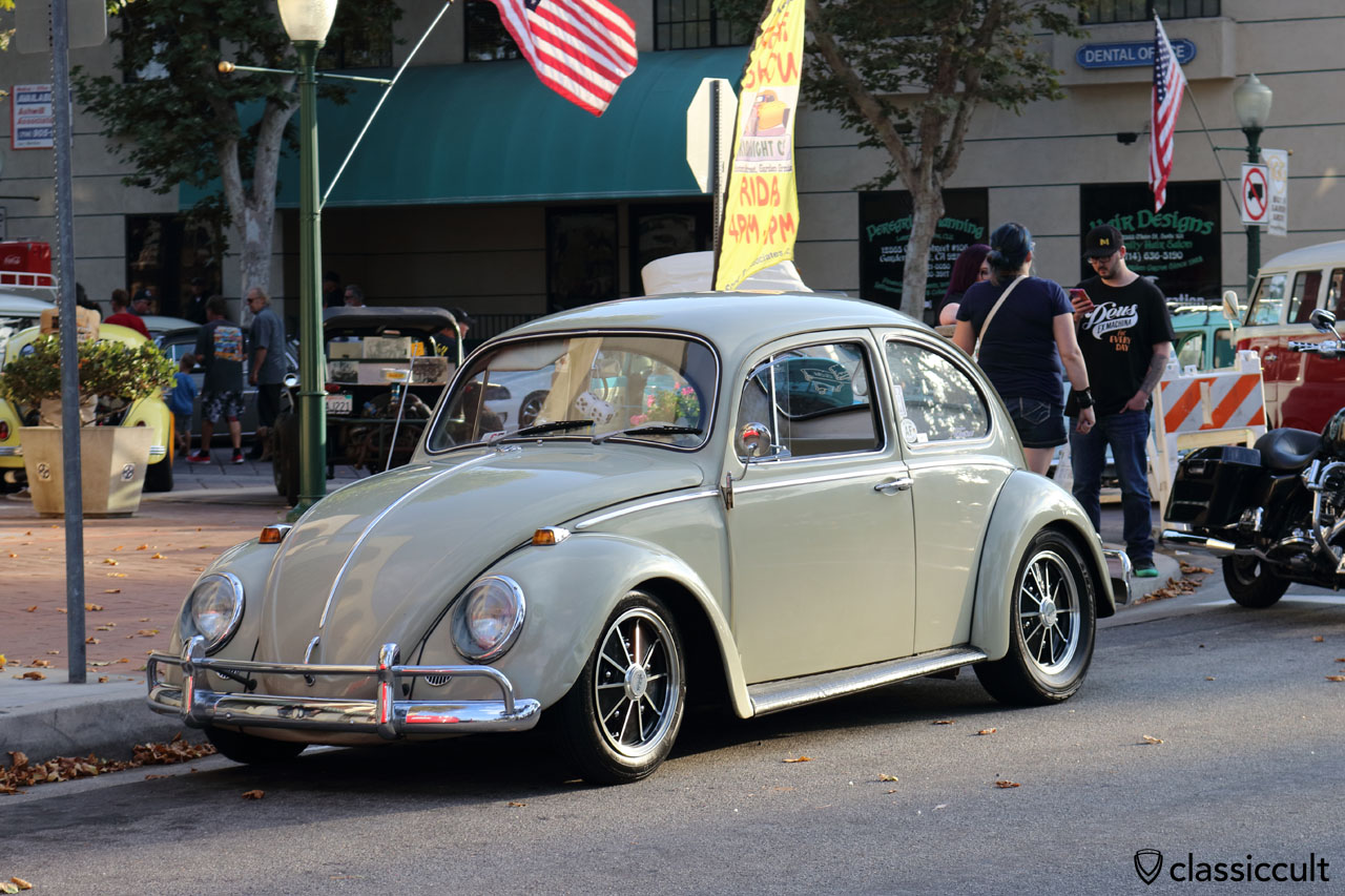 nice clean VW Beetle at the end of the Main Street