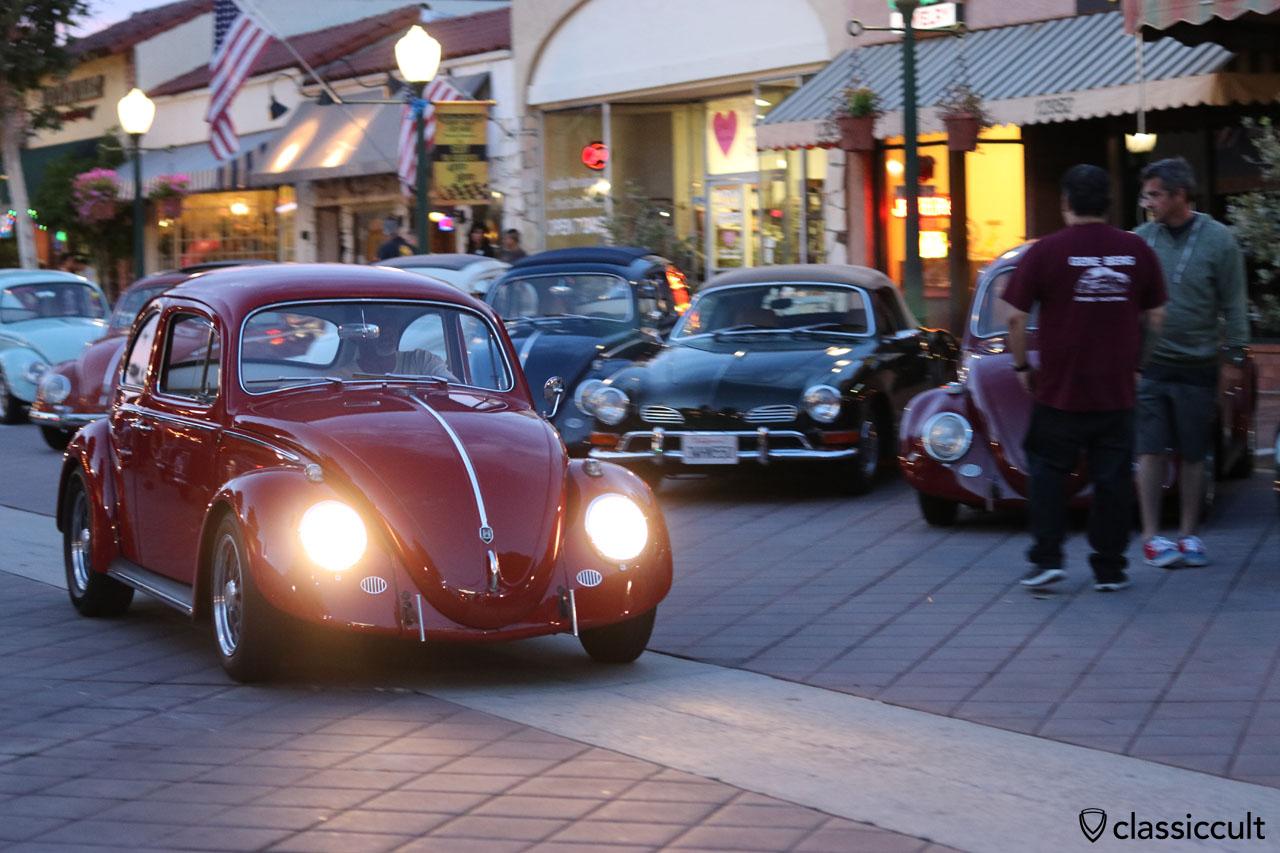 red Cal-Look VW Beetle cruising home