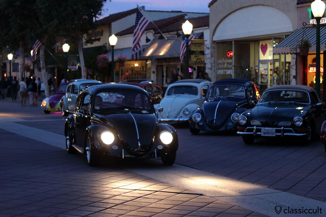 black sunroof Cal-Look VW Beetle cruising home