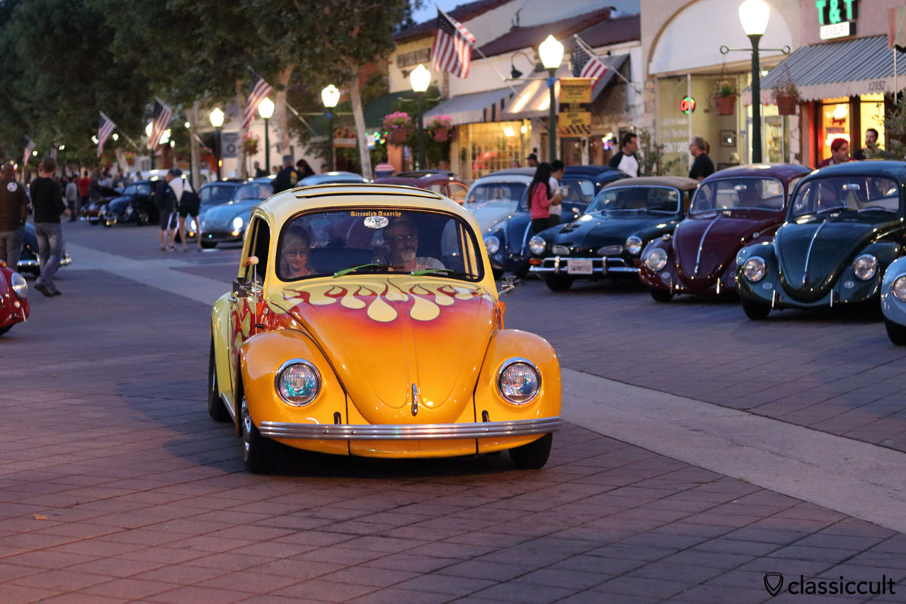 Sunroof Flames Beetle cruising home