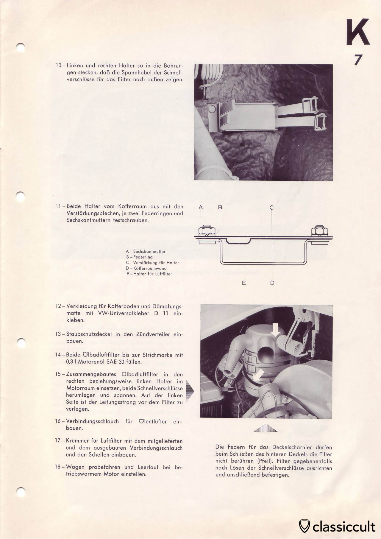 Mounting instructions for the dusty conditions air cleaner in Karmann Ghia.