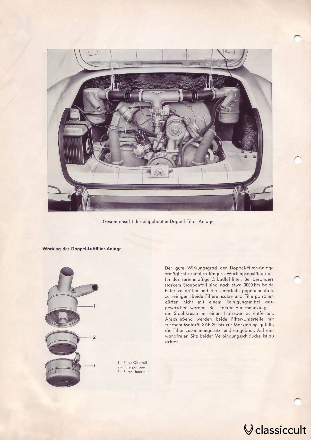 Mounting instructions for the dusty conditions air cleaner in 1966 Karmann Ghia.