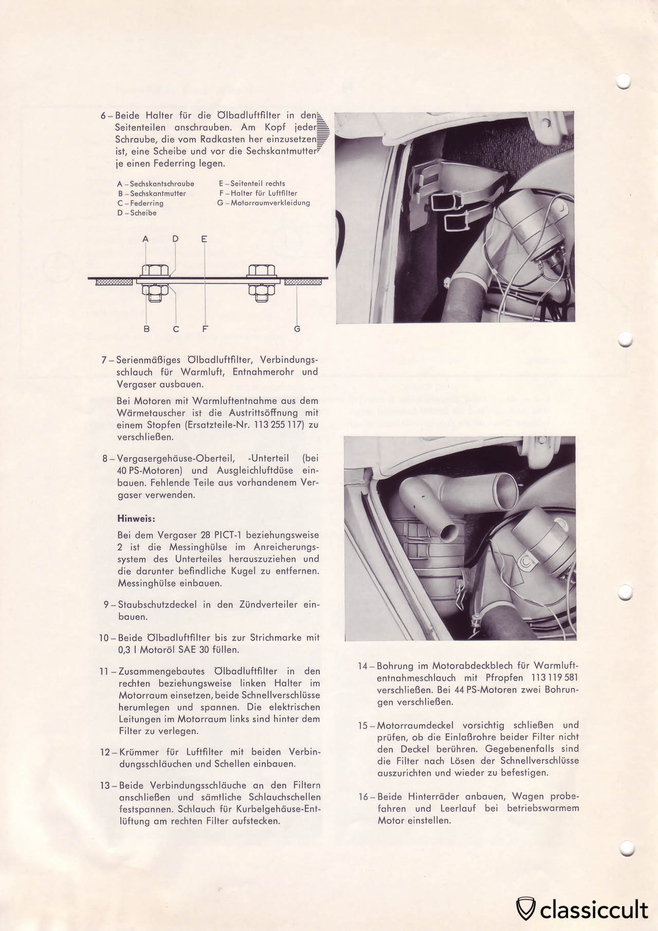 Mounting instructions for dusty conditions air cleaner in VW Beetle.