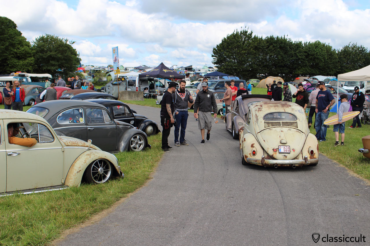 slammed VW Beetles at European Bug-In 6, Chimay 2015