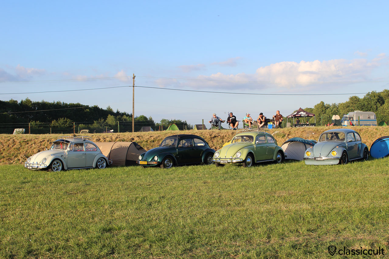 four VW Beetles, European Bug-In 2015
