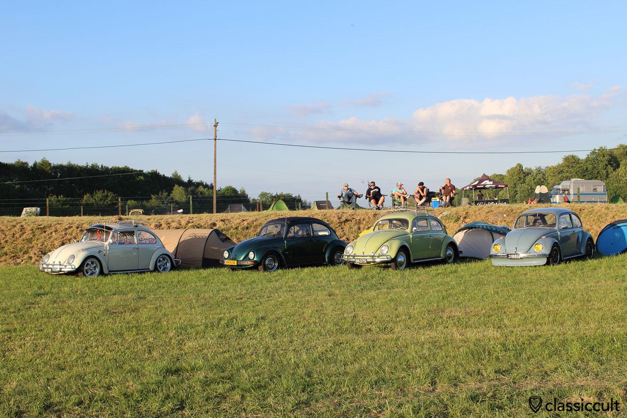 four VW Beetles, European Bug-In 2015