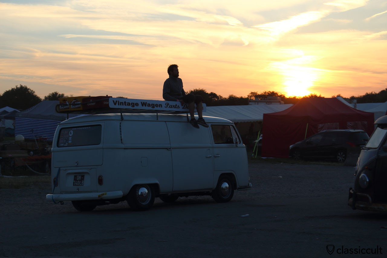 VW T2a from Vintage Wagen parts, Sunset at European Bug-In, Chimay 2015