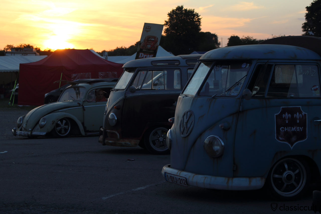 Sunset at EBI 6 with CHIMAY VW Split pick up, T1 Samba and Beetle,  June 27, 2015, 9:38 p.m.