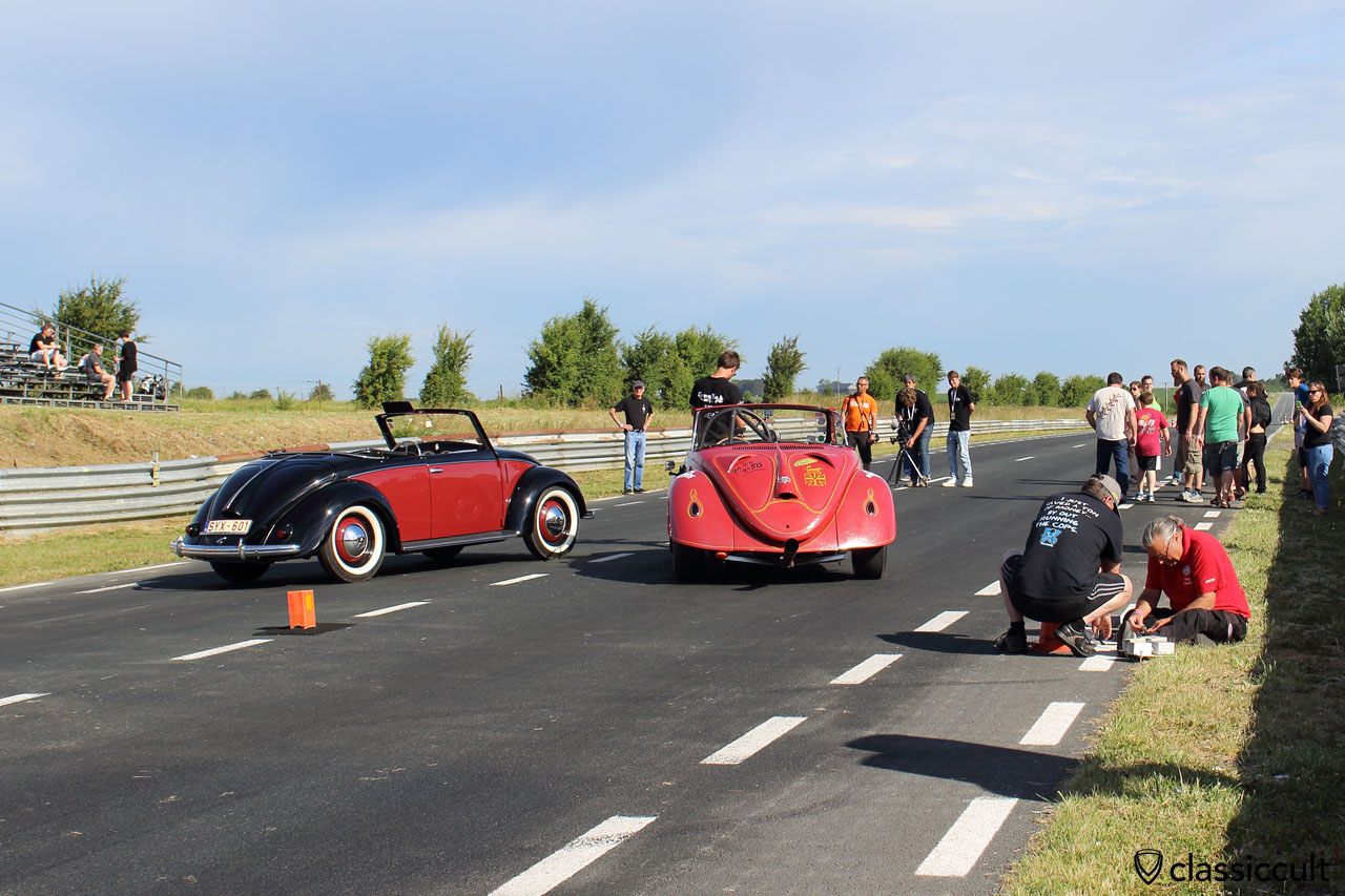 VW Hebmüller and Teufelheb Drag Race Hebmüller, rear view, European Bug-In 2015