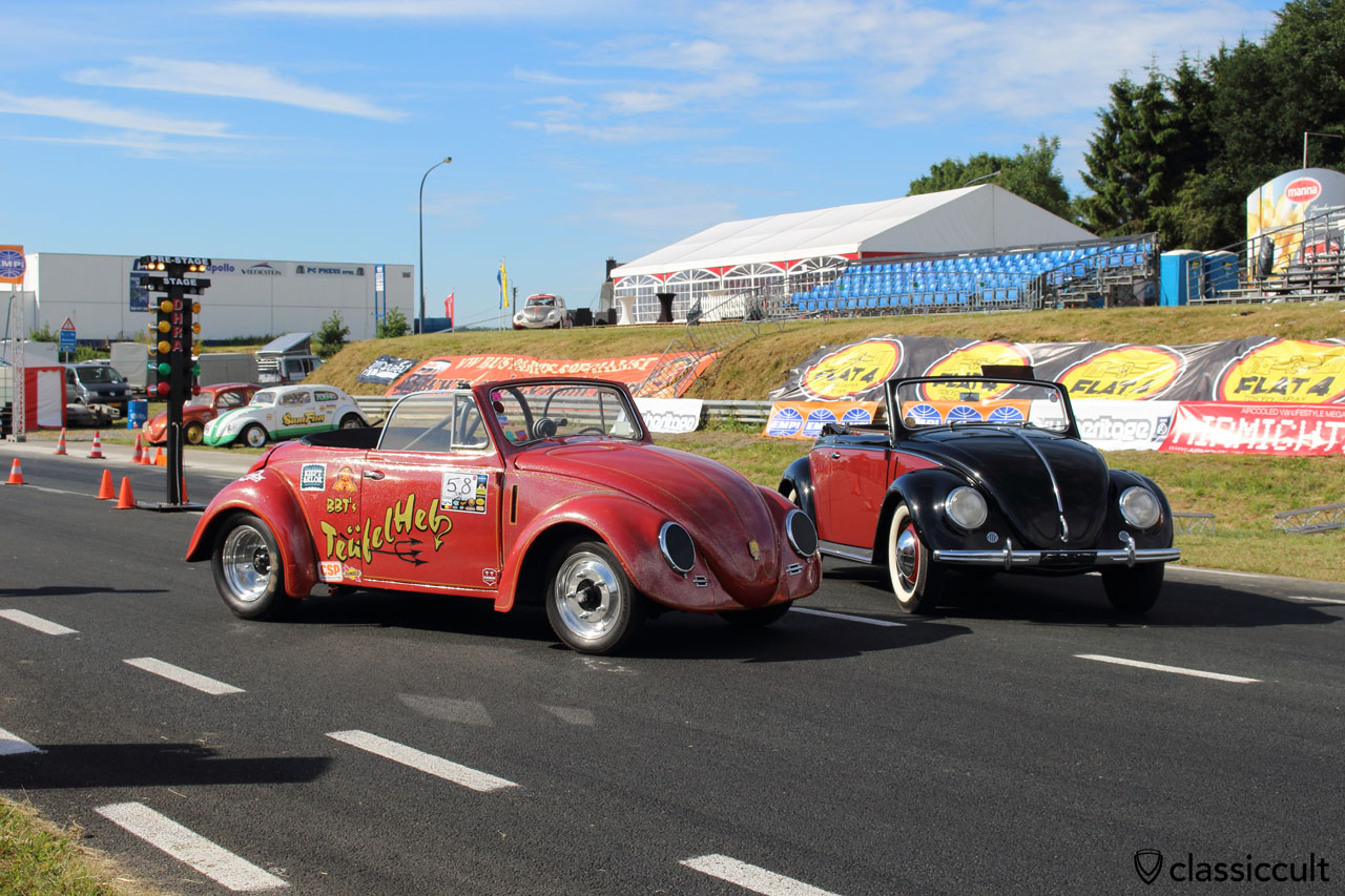VW Hebmüller and Teufelheb Drag Race Hebmüller, front view, European Bug-In 2015