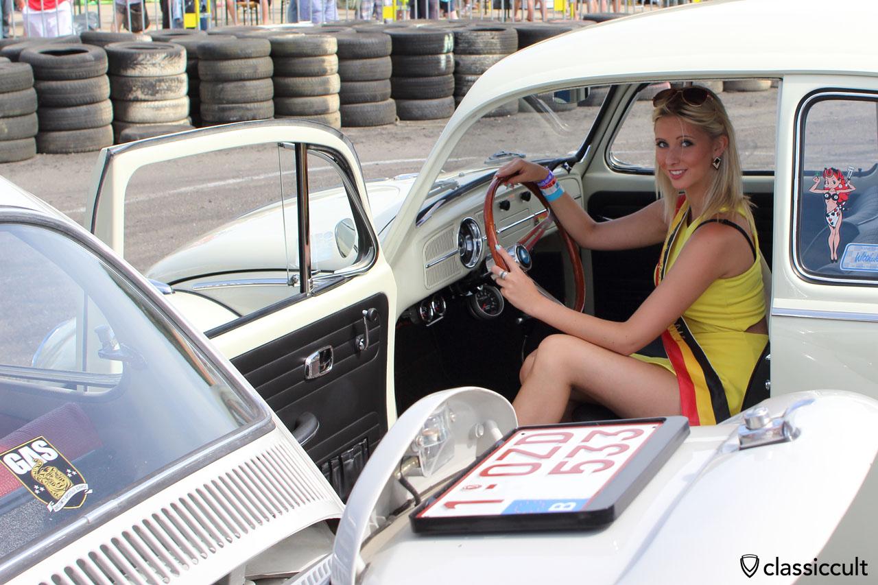 Miss European Bug-In inside a VW Beetle, Chimay 2015