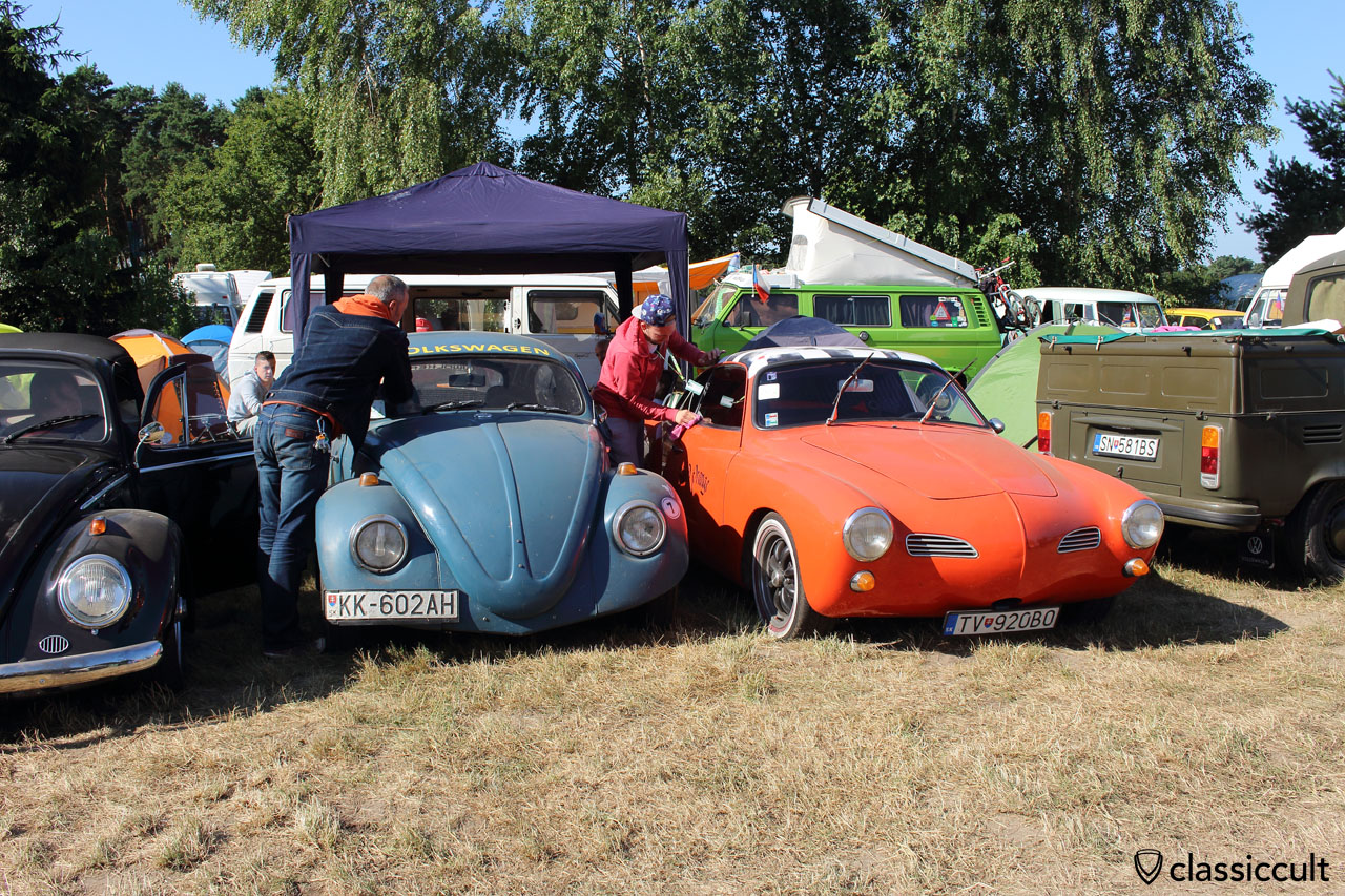 VW Beetle and Karmann Ghia gets cleaned for parade