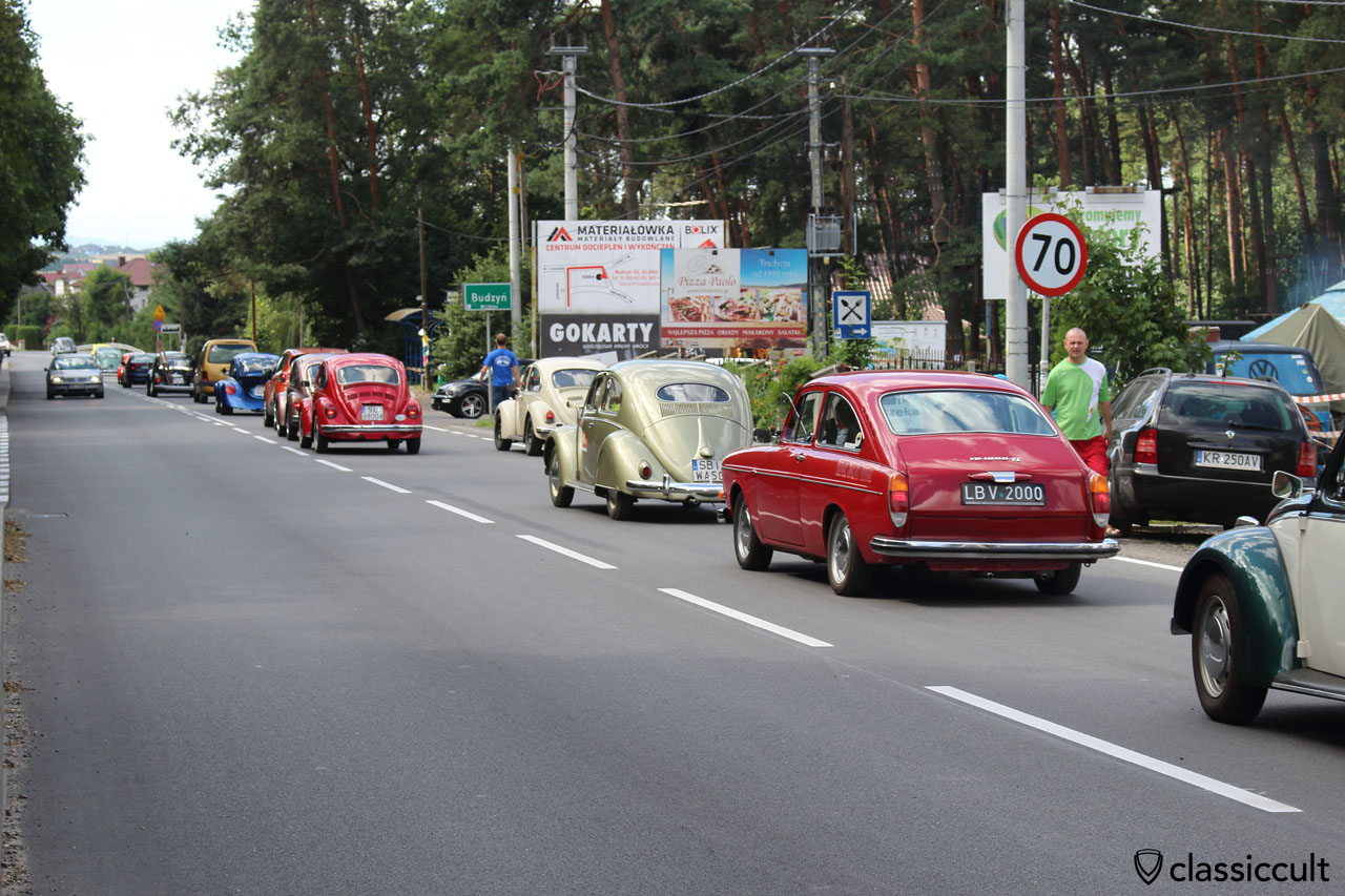 VW parade to the Wawel Castle in Krakow, 10:23 a.m.