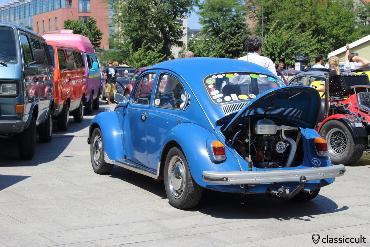 blue VW Bug, rear