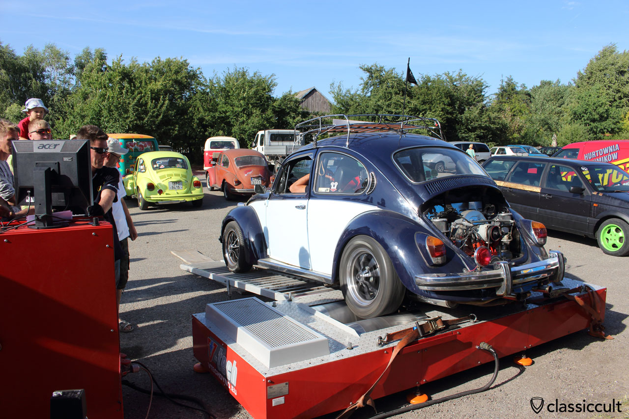 VW Beetle on a speed tester
