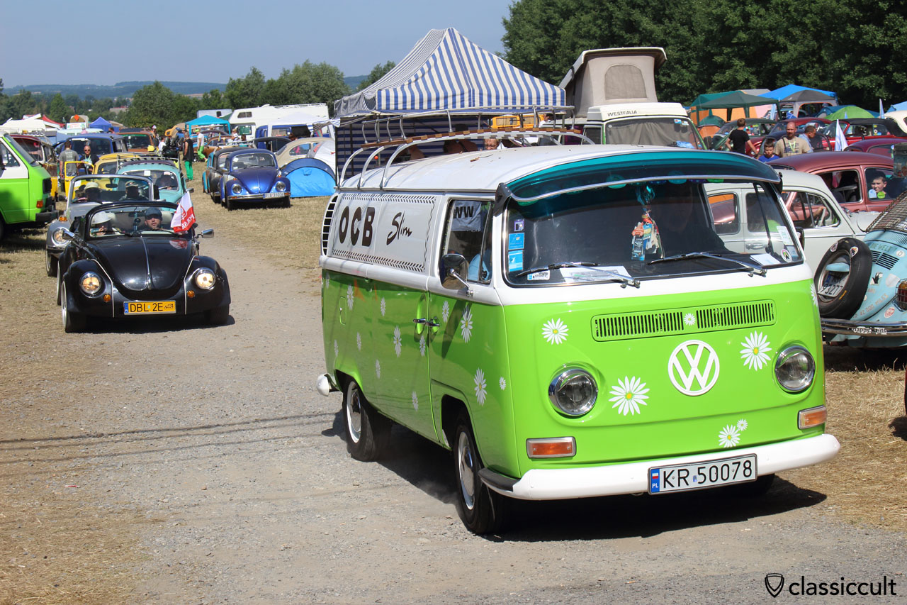 Start VW parade to church, Garbojama 2015, Sunday, July 12, 10:01 a.m.