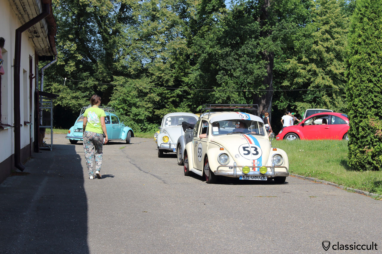 VW parade arrives at church, Sunday, July 12, 10:16 a.m.