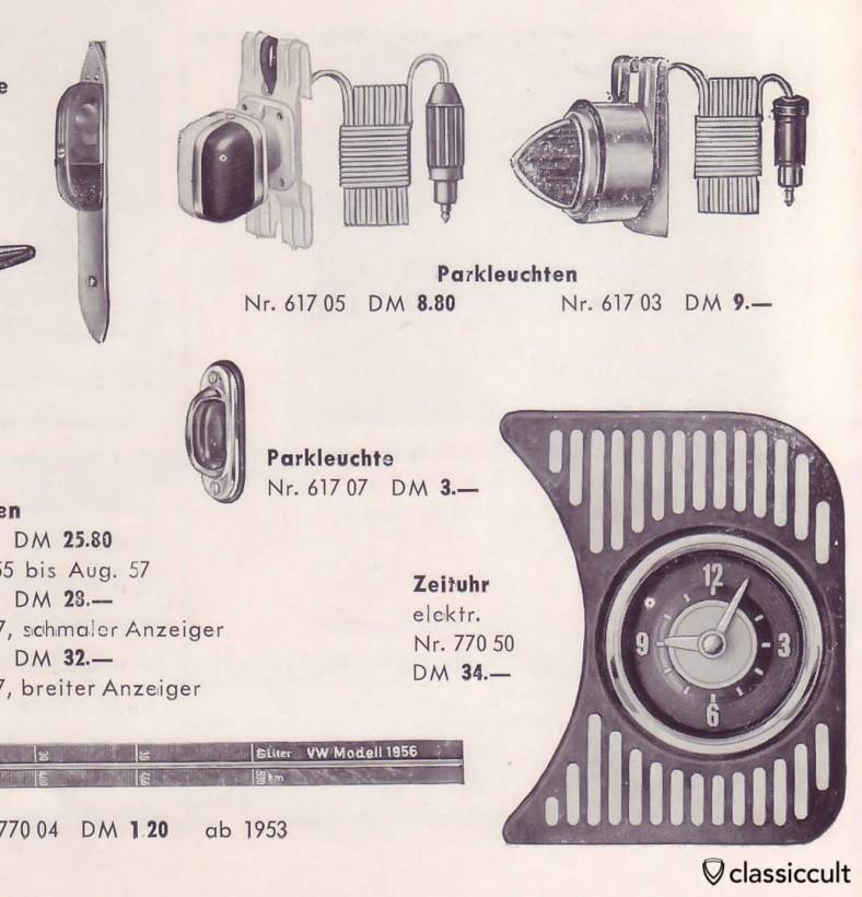 VW Bug feux de stationnement GHE pour le serrage dans le cadre de la fenêtre. source: accessoires GHE Happich VW brochure 1959