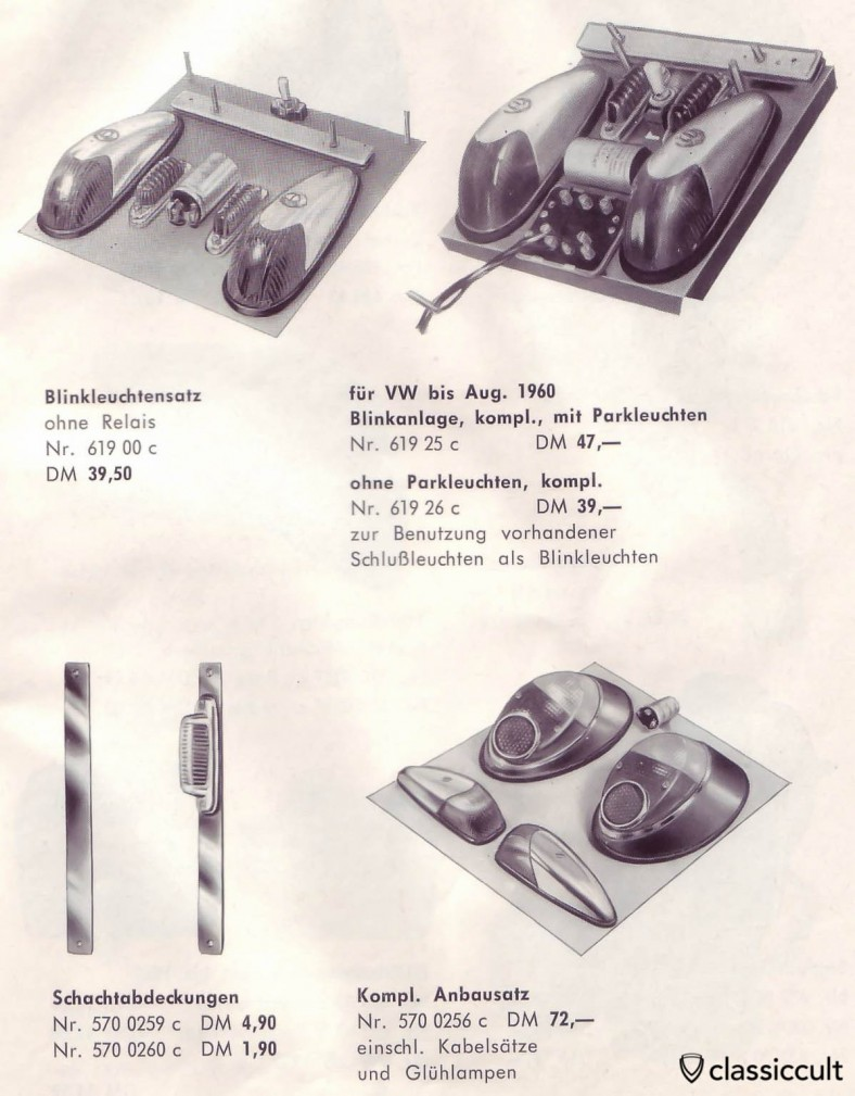 GHE park and  turn signal lights for VW Oval Bug. They will replace the original semaphores. source: GHE Happich VW accessories brochure 1963