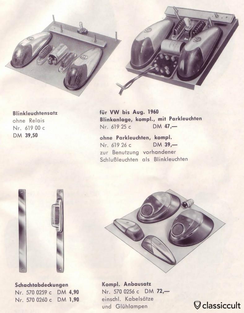 parc GHE et clignotants lumières pour VW Oval Bug. Ils remplaceront les sémaphores originaux. source: accessoires GHE Happich VW brochure 1963